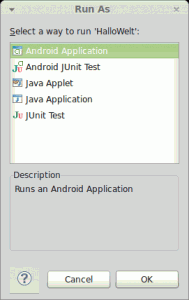 Eclipse Android-Projekt Run As
